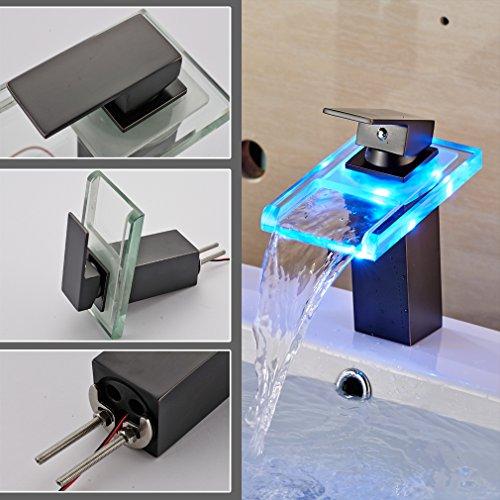 AURALUM Zeitgenössig Schwarz LED RGB Glas Mischbatterie Wasserfall Wasserhahn Armatur für Badewanne & Waschbecken