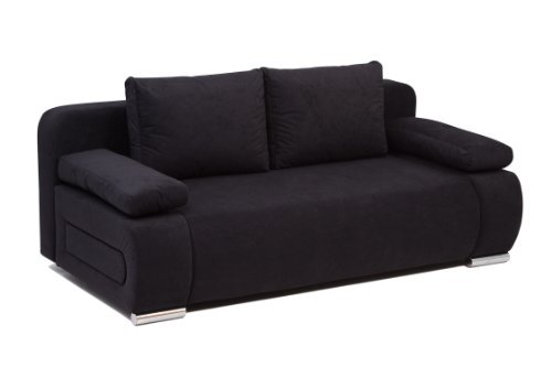 schlafsofa schlafcouch 2 sitzer sofa zoe in grau schwarz mit. Black Bedroom Furniture Sets. Home Design Ideas