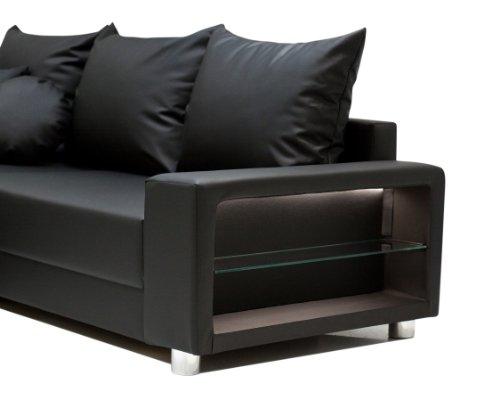 b famous wohnlandschaft colorado led federkern schenkelma 316 x 188 167 cm kunstleder schwarz. Black Bedroom Furniture Sets. Home Design Ideas