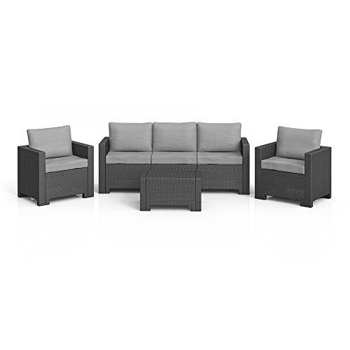 BICA Colorado Lounge Set Poly Rattan Gartenmöbel Rattanoptik Sitzgruppe anthrazit inkl. Auflagen (Grau)