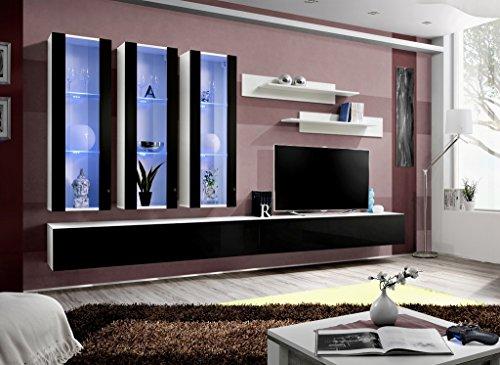 Unbekannt BMF Fly E Modern Hochglanz Wohnzimmer/Schlafzimmer/Studio flach–Möbel Set–Wohnwand TV Ständer/LED Schränke & Regale GAMMA WHT/BLK