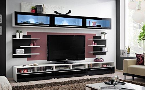 """BMF """"Kristall deutschen Stil"""" Modern Hochglanz Entertainment Wohnwand–Wohnzimmer/Schlafzimmer/Studio flach–Möbel Set–LED Unterschrank Modern weiß"""