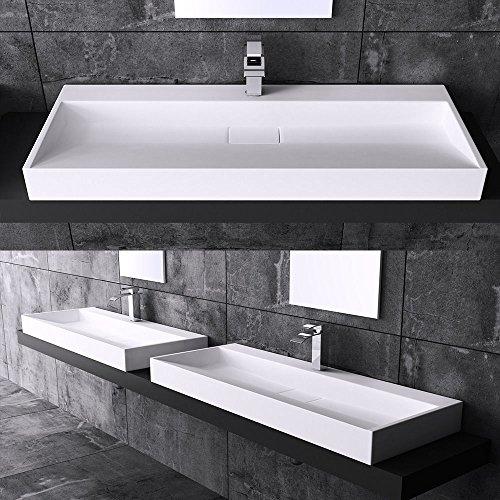 BTH: 100x46x11 cm Design Waschbecken Colossum19, aus Gussmarmor, Waschtisch, Waschplatz