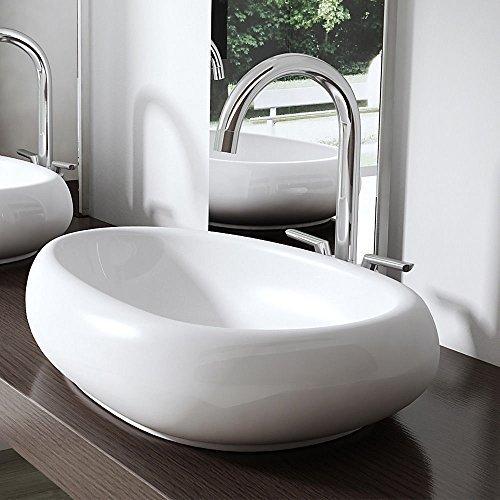 bth 56x38x13 5 cm aufsatz waschbecken br ssel894 aus keramik wei inkl nano versiegelung. Black Bedroom Furniture Sets. Home Design Ideas