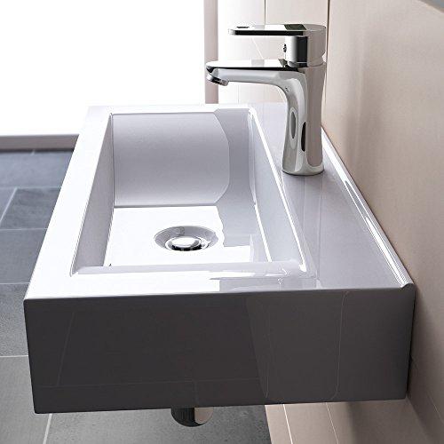 BTH: 60x31x11 cm Hängewaschbecken Brüssel118g, aus Keramik in weiß, Waschbecken inkl. Nano-Versiegelung/Abperl-Effekt