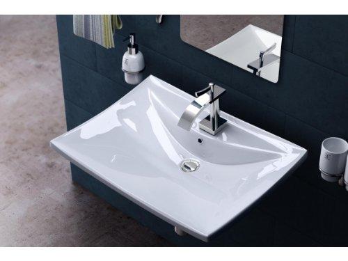 BTH: 60x44x16cm Hänge-/Aufsatzwaschbecken inkl. Nano-Versiegelung/Abperl-/Lotus-Effekt aus Keramik Brüssel709, weiß