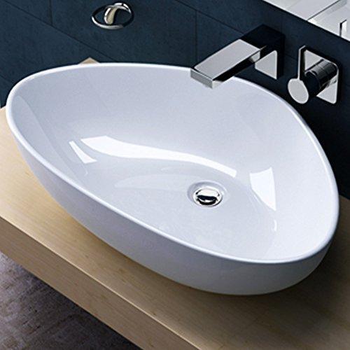 BTH 67x44x15 cm Aufsatzwaschbecken Brüssel895, mit Nano-Versiegelung aus Keramik, Waschbecken, Waschplatz, Waschschale