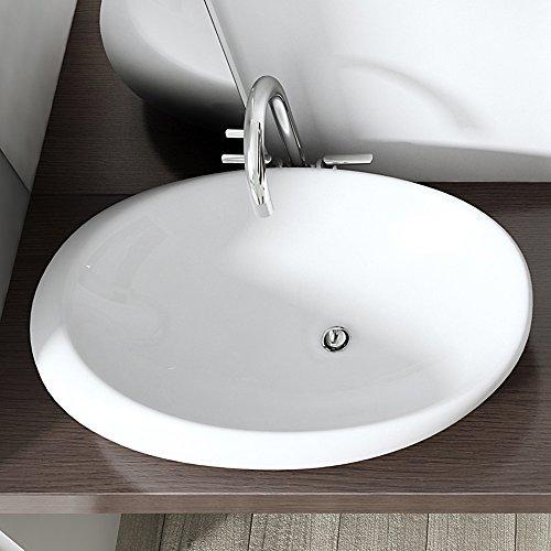 BTH: 69x39,5x17 cm Design Aufsatzwaschbecken Brüssel488A, aus Keramik inkl. NANO-Versiegelung, ovale Form, Waschschale, Waschtisch