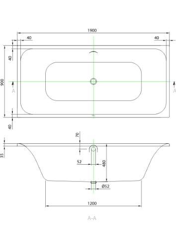 Badewanne Rechteck 190x90cm weiß, Villeroy & Boch Unternehmensgruppe, FO05052000