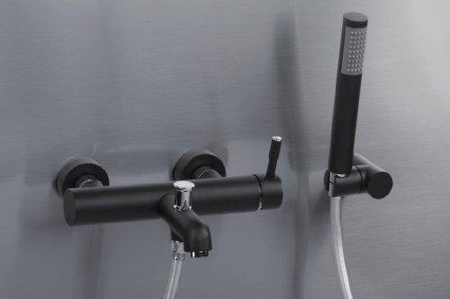 """Badewannenarmatur - Badewannen-Wandmischbatterie - mit Handbrause & Garnitur - Hochdruckarmatur - Badarmatur - Wannenarmatur - Einhebel Armatur - Einhebel Mischer -SCHWARZ - Modell: GLAMOUR-""""Vegane Nero""""- von VALVEX - Nr.2423390"""