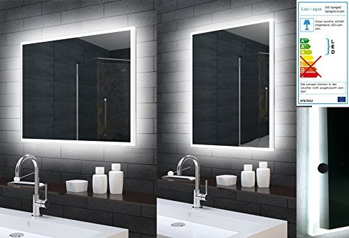 Lux-aqua Badezimmerspiegel Badspiegel Wandspiegel LED Beleuchtung 80x60cm MLE6800