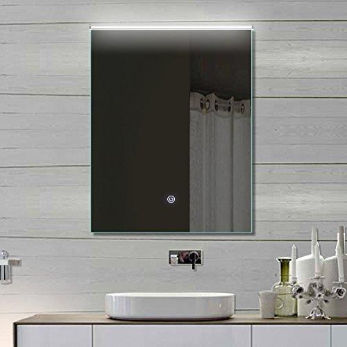 Lux-aqua Badezimmerspiegel Wandspiegel Lichtspiegel LED TOUCH SCHALTER Lichtfarbton kalt/warm einstellbar 52 x 70 cm THL52X70