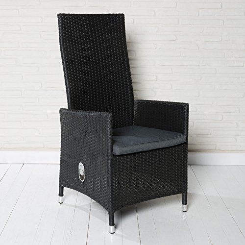 2 bequeme polyrattan hochlehner gartensessel gartenst hle schwarz mit verstellbarer r ckenlehne. Black Bedroom Furniture Sets. Home Design Ideas