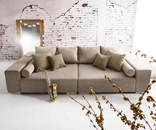 bigsofa marbeya grau 285 115 cm mit zierkissen xxl sofa m bel24. Black Bedroom Furniture Sets. Home Design Ideas