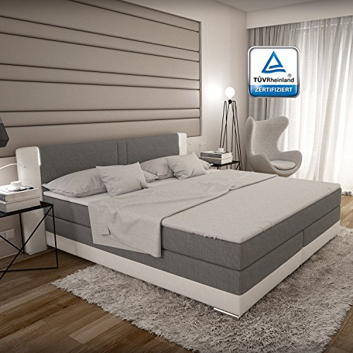 boxspringbett 180x200 grau wei led kopflicht t v gepr ft matratze stoff kunstleder hotelbett. Black Bedroom Furniture Sets. Home Design Ideas