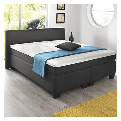 boxspringbett doppelbett hotelbett 180x200 cm anthrazit webstoff mit matratze und lattenrost. Black Bedroom Furniture Sets. Home Design Ideas