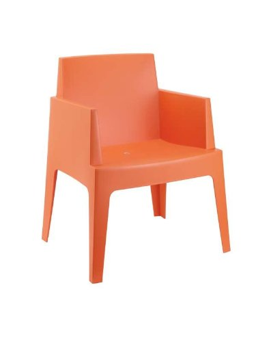 CLP Gartenstuhl BOX aus Kunststoff I XXL- Bistrostuhl mit einer max. Belastbarkeit von 160 kg I Stapelbarer Gartensessel Orange