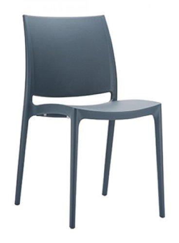 CLP XXL Küchenstuhl MAYA | Wetterbeständiger Stapelstuhl bis zu 160 kg belastbar | In verschiedenen Farben erhältlich Dunkelgrau