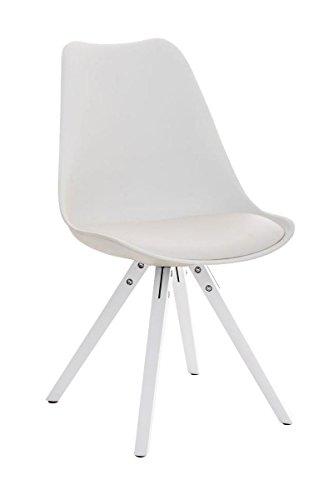CLP Design Retro-Stuhl PEGLEG SQUARE mit hochwertiger Polsterung und pflegeleichtem Kunstlederbezug | Schalenstuhl mit Holzgestell und einer Sitzhöhe von 46 cm | In verschiedenen Farben erhältlch Weiß, Holzgestell Farbe weiß, Bein-Form eckig