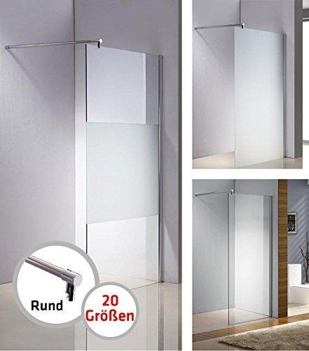 CLP Edelstahl-Duschabtrennung, NANO Glas, Haltestange: RUND (bis zu 3 Glasfarben und 20 Größen wählbar) halbmilchglas, 50 x 200 x 100 cm