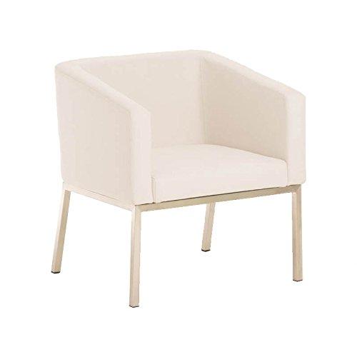CLP Retro Edelstahl Loungesessel NALA mit Stoffbezug, gepolsterter Sessel mit Rückenlehne | Sitzhöhe 44 cm Weiß