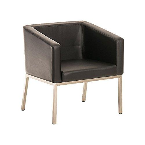 CLP Loungesessel Nala mit Hochwertiger Polsterung und Kunstlederbezug I Sessel mit Robustem Edelstahlgestell I in Verschiedenen Farben erhältlich Schwarz