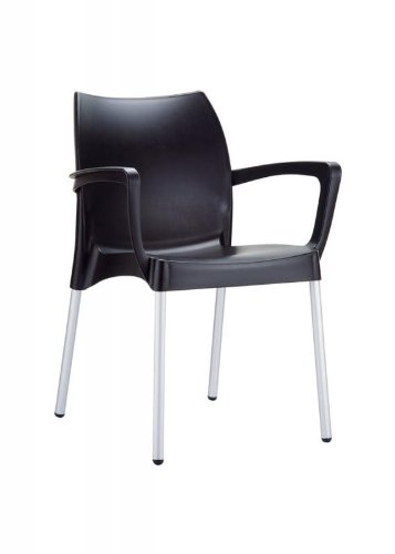 CLP Gartenstuhl DOLCE mit Metallgestell und Kunststoffsitz I Wetterbeständiger Stapelstuhl bis zu 160 kg belastbar I In verschiedenen Farben erhältlich Schwarz
