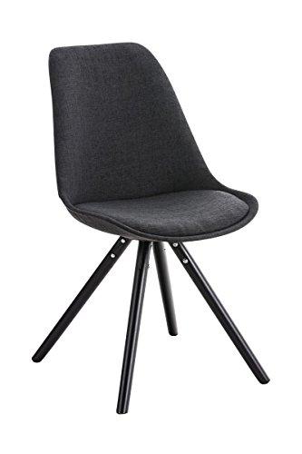 CLP Design Stuhl PEGLEG mit Stoffbezug | Gepolsterter Schalenstuhl mit Holzbeinen und einer Sitzhöhe 46 cm Dunkelgrau, Holzgestell schwarz