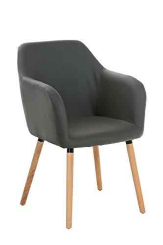 CLP Besucher Design-Stuhl PICARD, Holzgestell, Sitzfläche gut gepolstert, modern Grau