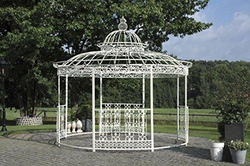 CLP wunderschöner LUXUS Pavillon ROMANTIK, aus stabilen Eisen Vierkantprofilen, Ø 3,45 Meter, Höhe 350 cm antik-weiß