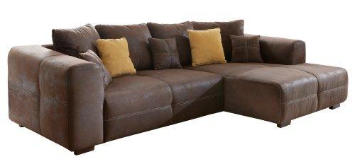 cavadore ecksofa mavericco polster eck couch mit kissen in antik leder optik mit. Black Bedroom Furniture Sets. Home Design Ideas