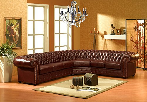 chesterfield l braun ledersofa ecksofa eckcouch m bel24 m bel g nstig. Black Bedroom Furniture Sets. Home Design Ideas
