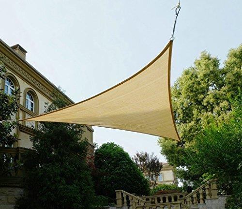 Cool Area Dreieck 3 x 3 x 3 m Sonnensegel Sonnenschutz Segel, UV Schutz für Balkon Terrasse Garten, Sandfarbe