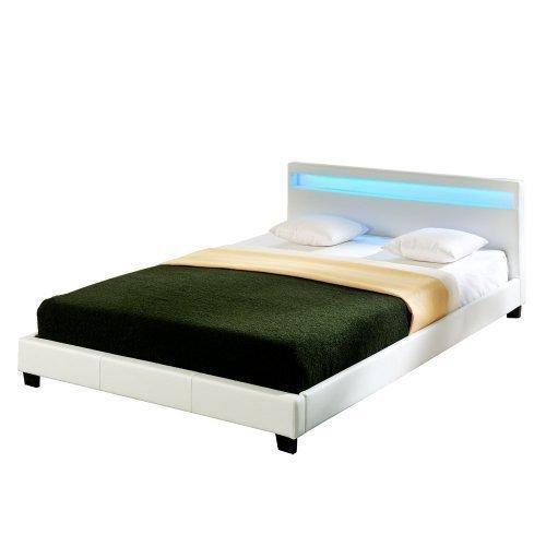 """Corium® LED Polsterbett """"Paris"""" - 140 x 200 cm - Weiß Kunstleder - mit Lattenrost und RGB Beleuchtung"""