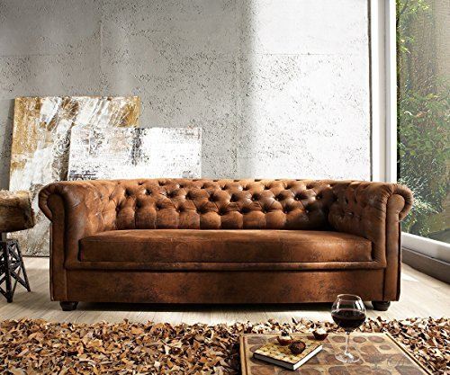couch chesterfield braun 200 92 cm antik optik abgesteppt 3 sitzer m bel24. Black Bedroom Furniture Sets. Home Design Ideas