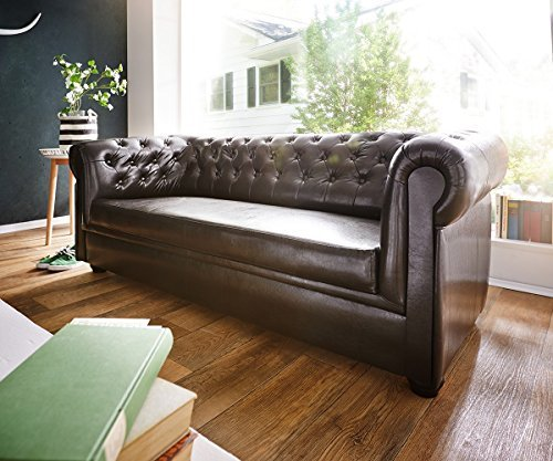 delife couch chesterfield braun 3 sitzer sofa abgesteppt. Black Bedroom Furniture Sets. Home Design Ideas