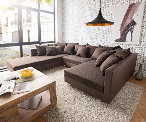 sofa clovis erweiterbares modulsofa eckcouch wohnlandschaft sofa mit hocker braun braun m bel24. Black Bedroom Furniture Sets. Home Design Ideas