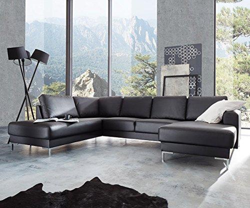designer polsterecke milano schwarz wei wohnlandschaft polstersofa couchgarnitur echtleder mit. Black Bedroom Furniture Sets. Home Design Ideas