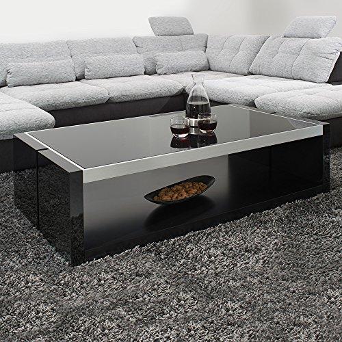 moebella couchtisch schwarz hochglanz mit glasplatte evo 130x70cm glastisch aluminium geb rstet. Black Bedroom Furniture Sets. Home Design Ideas