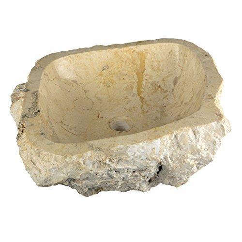 Divero Natur-Stein Waschschale Tortona Aufsatz-Waschbecken Handwaschbecken Marmor innen poliert außen naturbelassen creme beige weiß