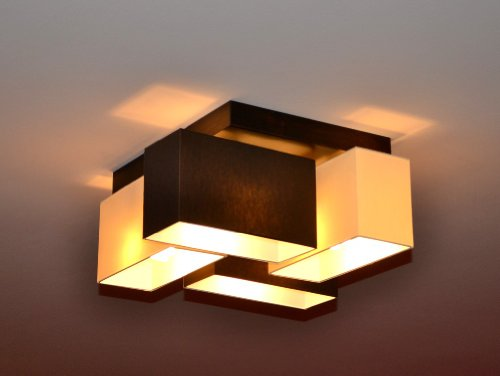 Deckenlampe Deckenleuchte Lampe Leuchte 4 flammig TOP Design Merano B4MIX (Creme - Braun)