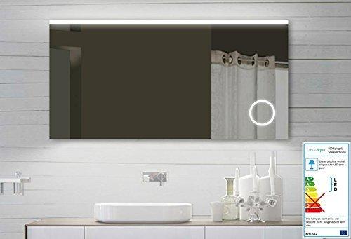 Lux-aqua Design LED Badezimmerspiegel Badspiegel Lichtspiegel mit Schminkspiegel mit Beleuchtung 120x60 cm