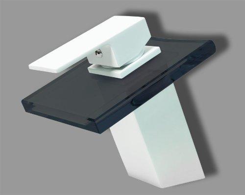 Design Wasserfall Bad Einhebel Armatur Matt Weiß + Schwarzes Glas Eckig
