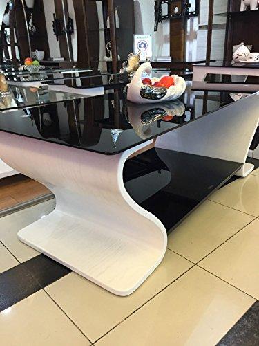 Designer Beistelltisch aus Holz Weiß mit Schwarz Glas