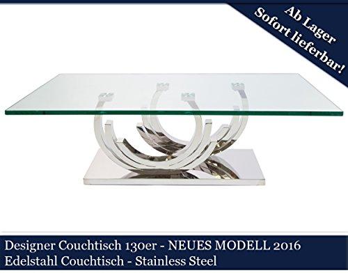 Designer Couchtisch Edelstahl Wohnzimmertisch Glastisch Glas Hochglanz 130cmx70cmx42cm