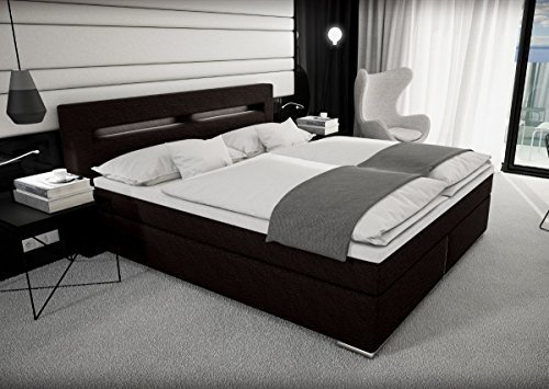 designer stoff boxspring bett mit led beleuchtung 180 200. Black Bedroom Furniture Sets. Home Design Ideas