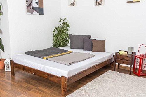 Futonbett Holz des Kiefer massiv Farbe-noyen A10, inkl. Lattenrost–Maße: 160x 200cm