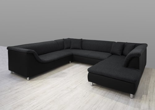 dreams4home polsterecke loree sofa wohnlandschaft ecksofa couch xxl u form grau schwarz. Black Bedroom Furniture Sets. Home Design Ideas