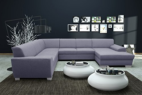 dreams4home polsterecke u form majestic xxl big sofa ecksofa couch wohnlandschaft hellgrau. Black Bedroom Furniture Sets. Home Design Ideas