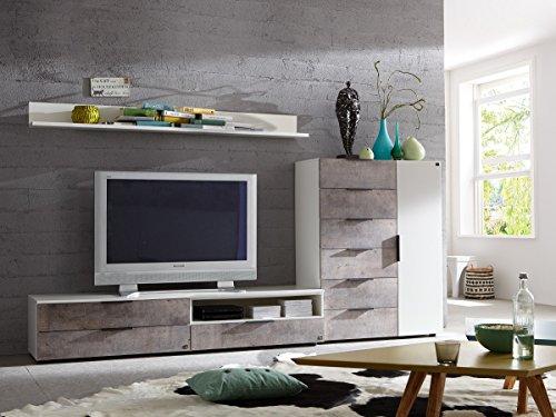 Dreams4Home Wohnwand 'Kari' - 2x Wandboard, 2x TV-Unterschrank, 1x Highboard, B/H/T:ca. 275 x 120 x 45 cm, Wohnzimmer, Jugendzimmer, Gästezimmer, in Alpinweiß + Beton farbige Absätze